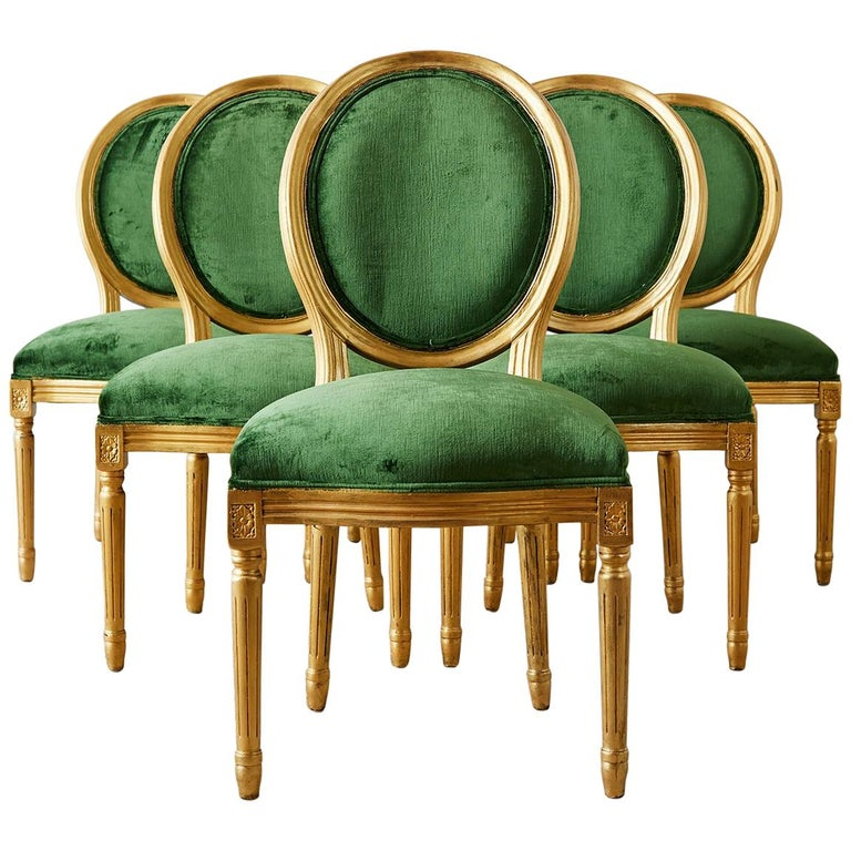Green Dining Room Chairs: Louis XVI Emerald Green Velvet Gilt Dining Chairs At 1stdibs