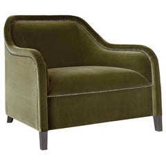 Arpege Eleve Armchair in Green Velvet with Brass Details by Busnelli