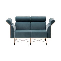 Agevole Sofa in Blue-Green Fabric with Copper Frame by Busnelli