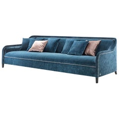 Arpege Eleve Sofa in Blue Velvet with Brass Details by Busnelli