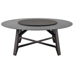 Controvento Table in Charcoal Gray with Revolving Tray by Busnelli