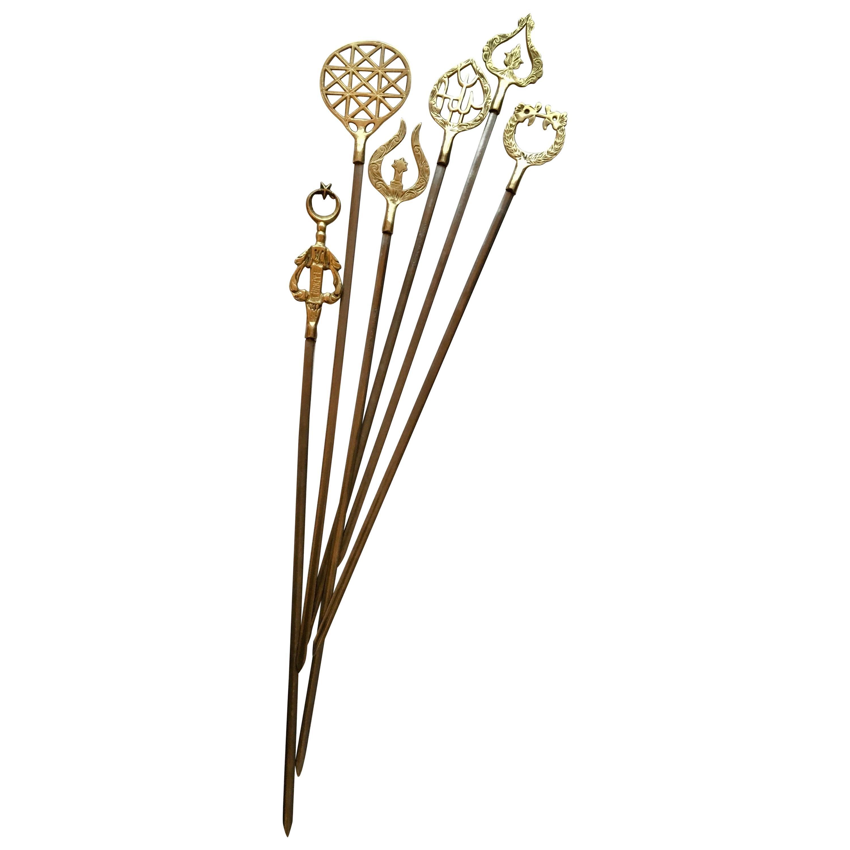 Set of 6 Brass Skewers