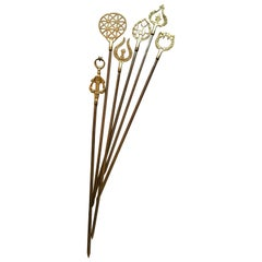 Set of 6 Brass Skewers