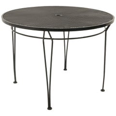Russell Woodard Outdoor Dining Table, Black Wrought Iron, Subtle Curved Legs