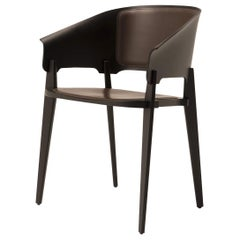 Three-Piece Chair with Dark Brown Leather Upholstery by Busnelli