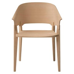 Three-Piece Chair in Natural Wood with Curved Backrest by Busnelli