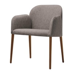 Zip Chair in Gray Fabric with Ashwood Legs by Busnelli