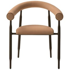 Albeisa Chair in Coffee Leather with Curved Seat and Backrest by Busnelli