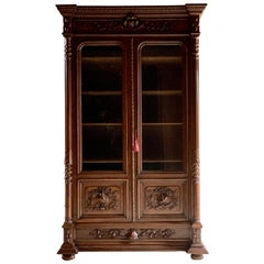 Antique French Bookcase Vitrine Heavily Carved Solid Oak 19th Century