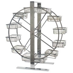 Attributed to Adnet Articulated Metal and Glass Wheel
