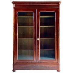 Antique French Bookcase Vitrine Glass Cabinet Mahogany 19th Century 1875 No.2