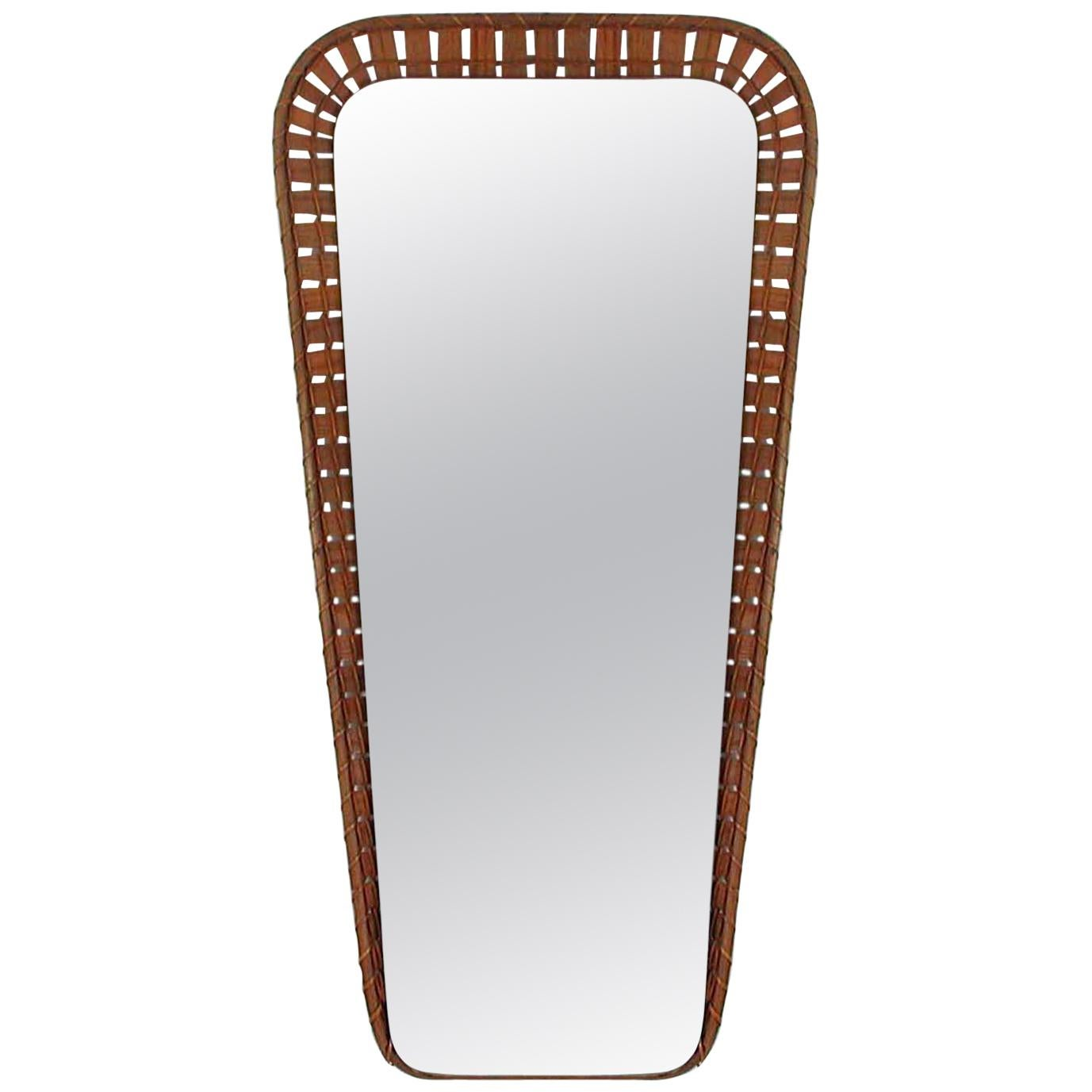 Swedish Midcentury Conical Rattan Wall Mirror, 1950s