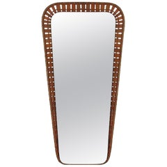 Swedish Midcentury Conical Rattan Wall Mirror, 1950s