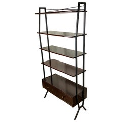 Italian Vintage Metal Mahogany RB Design Polyester Polished Small Bookcase, 1970