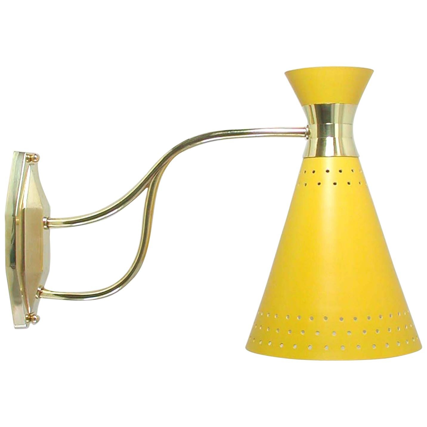 Midcentury French, 1950s Yellow Diabolo Wall Light Sconce, Pierre Guariche Era