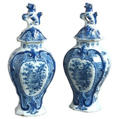 Pair of Signed 18th Century Delft Lidded Vases