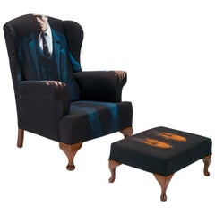 Midcentury Wing Back Armchair 'the Mafia Boss'  Bespoke Unique One of a Kind
