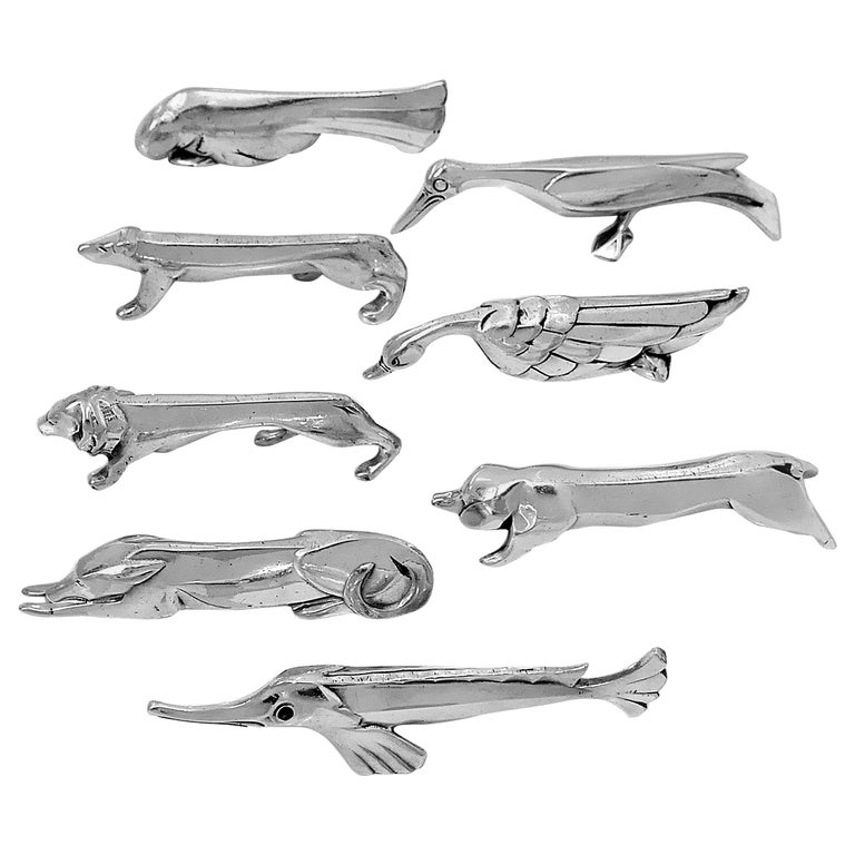 Christofle Gallia Sandoz Signed Rare Silver Knife Rests Eight-Piece For Sale