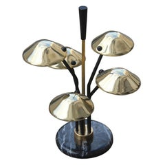 Modern Table Lamp Black and Gold Brass Many Mushroom Inspired Midcentury