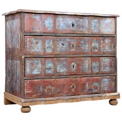 Mid-18th Century Danish Pine Painted Chest of Drawers