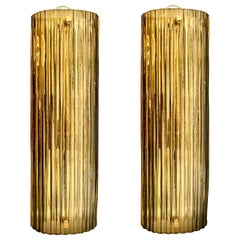 Pair of Italian Murano Glass Bronze Sconces Brass Structure, 1980s