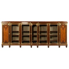 Very Large Gilt Bronze Mounted and Marquetry Inlaid Bookcase, circa 1870