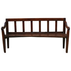 Early 19th Century English Country House Hall Bench in Chestnut and Walnut