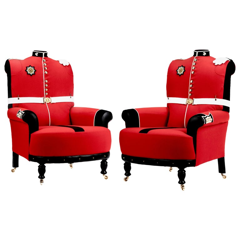 'The Irish Guards' Pair of Victorian Wing Back Armchairs, circa 1890 For Sale