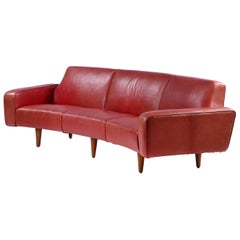 Illum Wikkelso Red Leather Sofa and Coffee Table, circa 1960s