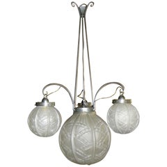 Art Deco Iron Chandelier with Pressed Glass Globes