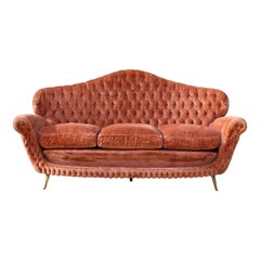 1950s Midcentury Italian Button Back Velvet Sofa with Tapered Bronze Legs