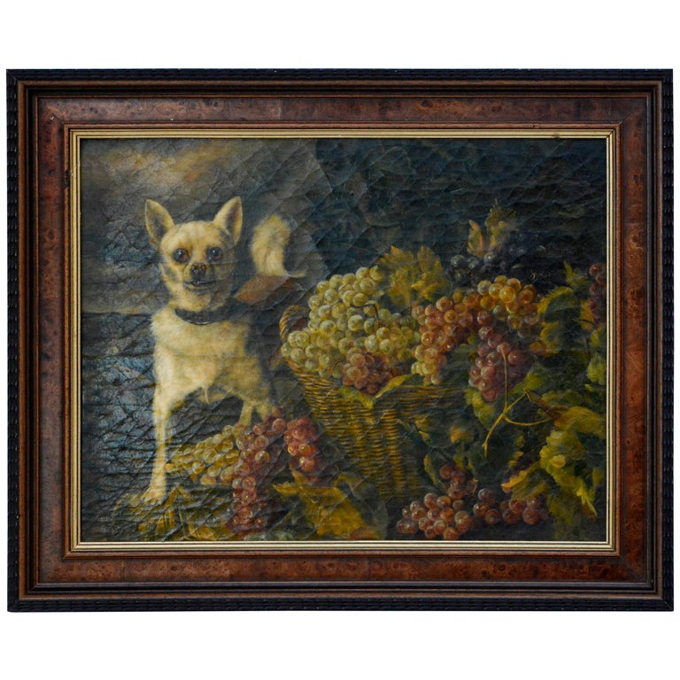 After/Follower of Ferdinand Georg Waldmüller, A Dog Guarding Grapes, 1840s For Sale