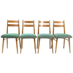 Set of Four Green Vintage Dining Chairs, Czechoslovakia, 1970s