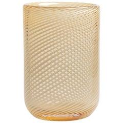 Yali Murano Hand Blown Filigrana Tall Vase Amber