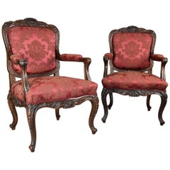 Pair of Fine Quality French, 19th Century Walnut Fauteuils or Open Armchairs