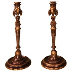 Pair of 19th Century French Bronze and Ormolu Candlesticks