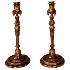 Paar des 19. Jahrhunderts Französische Bronze und Messingbeschläge Leuchter
