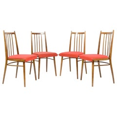 Set of Four Vintage Dining Chairs, Red Upholstered, Czechoslovakia, 1970s