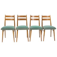 Set of Four Vintage Dining Chairs, Green Seats, Czechoslovakia, 1970s