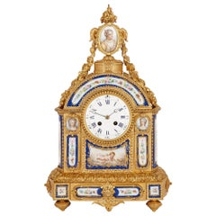 Sèvres Style Gilt Bronze and Porcelain Mantel Clock