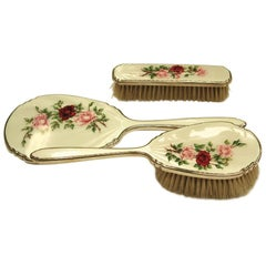 3-Piece Sterling Silver and Floral Enamel Dressing Table Hairbrush Set