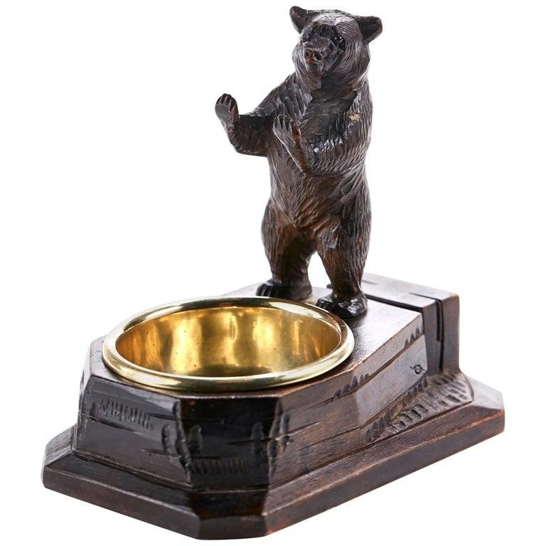 Unusual Carved Black Forest Bear Match Box Striker For Sale