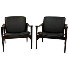 Pair of Lounge Chairs Rosewood 711 by Fredrik Kayser-Vatne Lenestolfabrikk 1960s