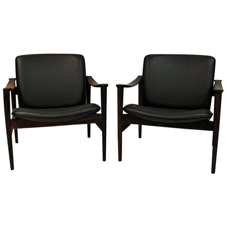 Pair of Lounge Chairs Rosewood 711 by Fredrik Kayser-Vatne Lenestolfabrikk 1960s For Sale