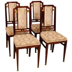 20th Century in Mahogany and Velvet Four French Art Deco Chairs, 1930