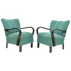 Pair of Original Armchairs with Wooden Armrests, Czechoslovakia, 1940s