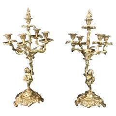 Paar Bronze Französisch 19. Jahrhundert Louis XV Cherub Kandelaber