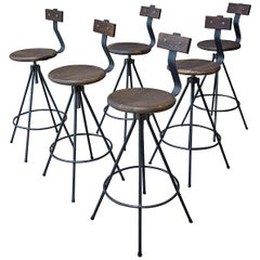 Handmade Industrial Bar Stools with Back and Spindle