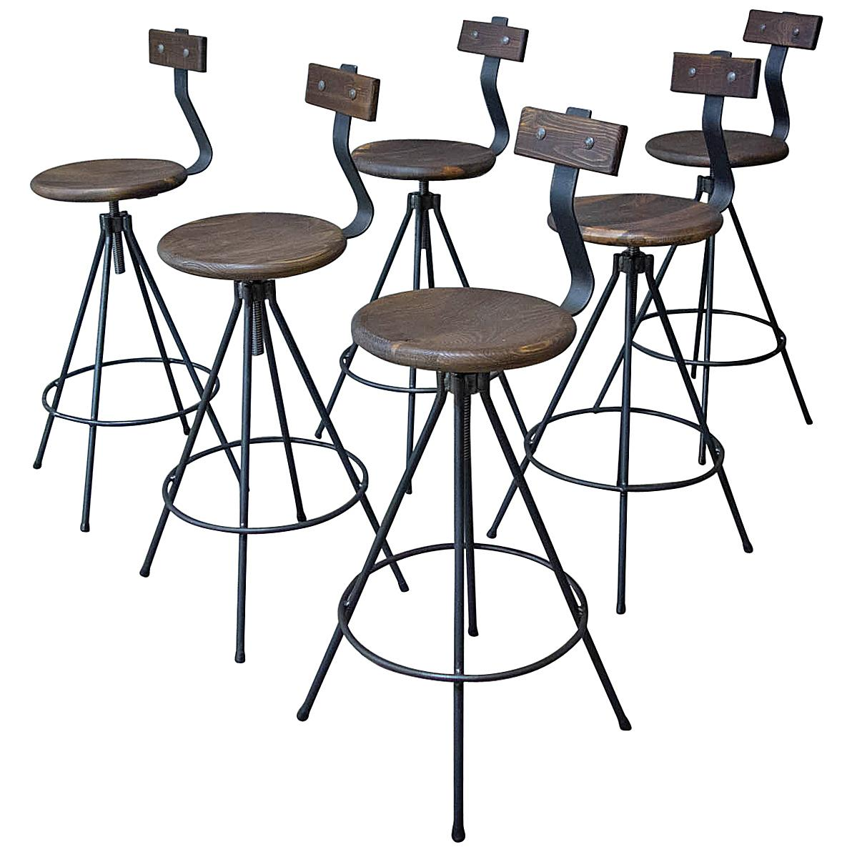 Incroyable Handmade Industrial Bar Stools With Back And Spindle