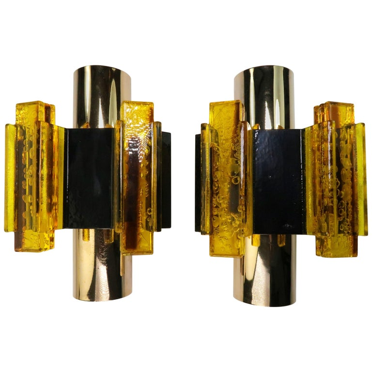 Danish Yellow, Black Acrylic Modern Space Age Wall Lights by Claus Bolby, 1970s For Sale